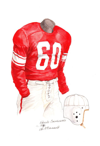 Nebraska Cornhuskers 1948 - Heritage Sports Art - original watercolor artwork - 1