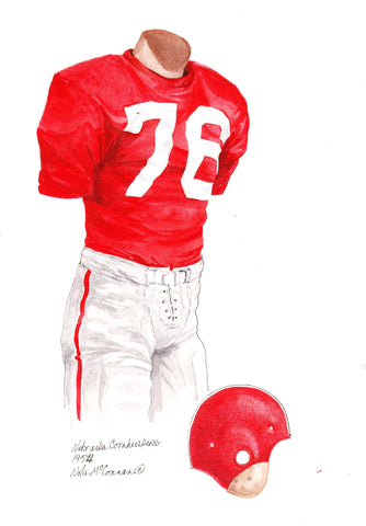 Nebraska Cornhuskers 1954 - Heritage Sports Art - original watercolor artwork - 1