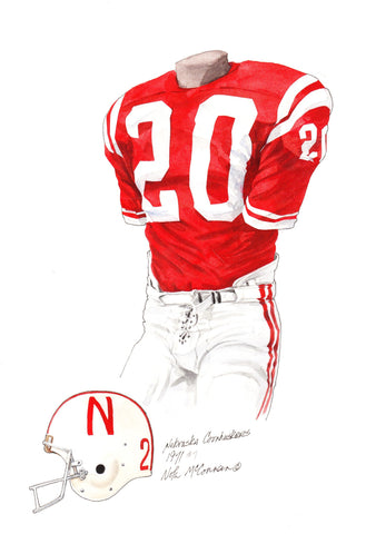 Nebraska Cornhuskers 1971 - Heritage Sports Art - original watercolor artwork - 1