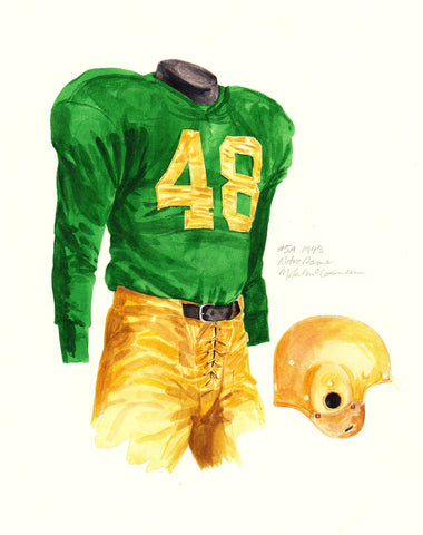 Notre Dame Fighting Irish 1943 - Heritage Sports Art - original watercolor artwork - 1