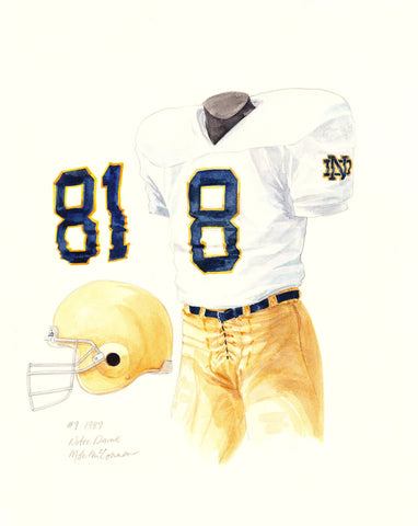 Notre Dame Fighting Irish 1987 - Heritage Sports Art - original watercolor artwork - 1