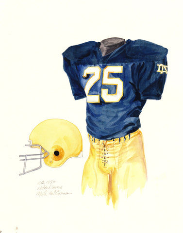 Notre Dame Fighting Irish 1990 - Heritage Sports Art - original watercolor artwork - 1