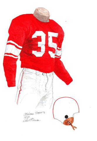 Oklahoma Sooners 1950 - Heritage Sports Art - original watercolor artwork - 1