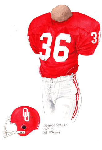 Oklahoma Sooners 1969 - Heritage Sports Art - original watercolor artwork - 1
