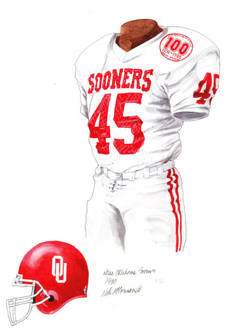 Oklahoma Sooners 1990 - Heritage Sports Art - original watercolor artwork - 1