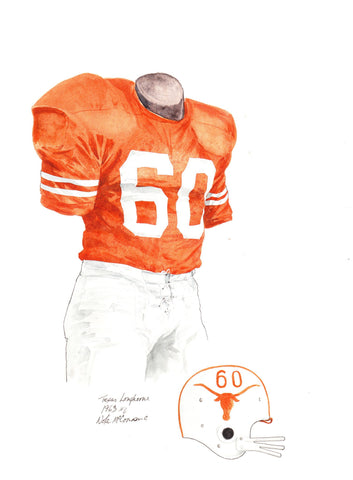 Texas Longhorns 1963 - Heritage Sports Art - original watercolor artwork - 1