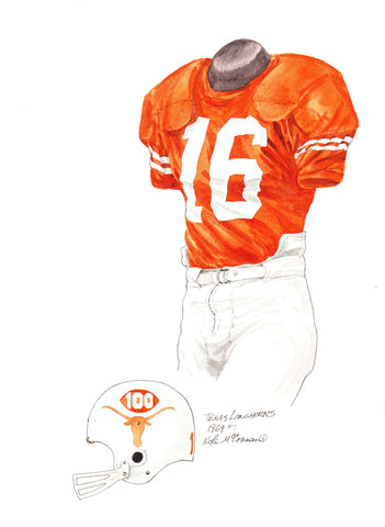 Texas Longhorns 1969 - Heritage Sports Art - original watercolor artwork - 1