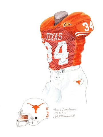 Texas Longhorns 1998 - Heritage Sports Art - original watercolor artwork - 1