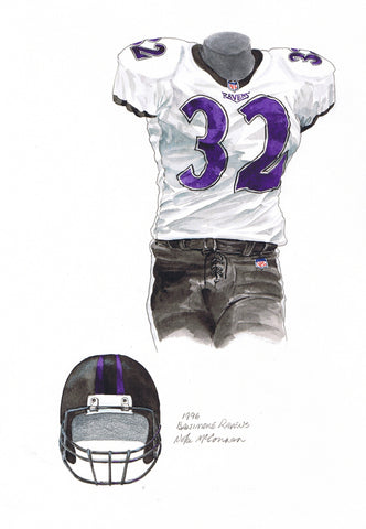 Baltimore Ravens 1996 - Heritage Sports Art - original watercolor artwork - 1