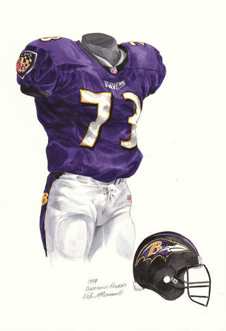 Baltimore Ravens 1999 Purple - Heritage Sports Art - original watercolor artwork - 1