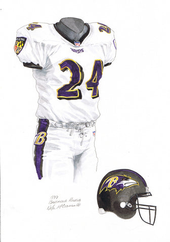 Baltimore Ravens 1999 White - Heritage Sports Art - original watercolor artwork - 1