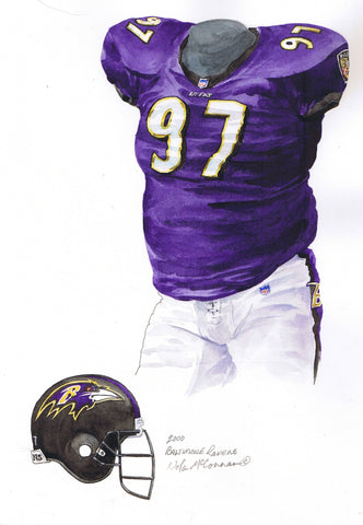 Baltimore Ravens 2000 Purple - Heritage Sports Art - original watercolor artwork - 1