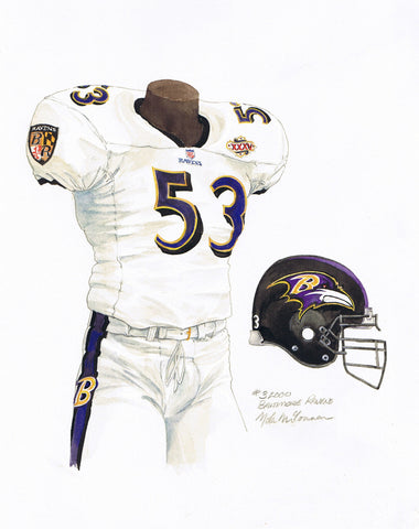 Baltimore Ravens 2000 White - Heritage Sports Art - original watercolor artwork - 1