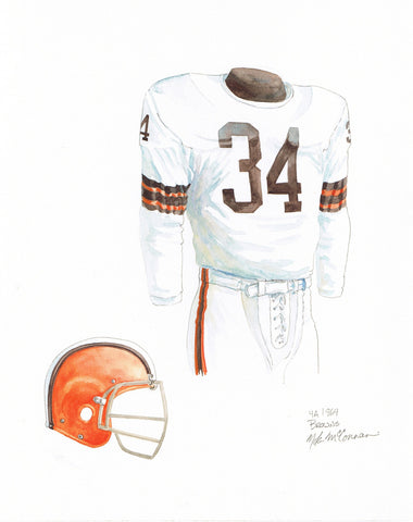 Cleveland Browns 1964 White - Heritage Sports Art - original watercolor artwork - 1
