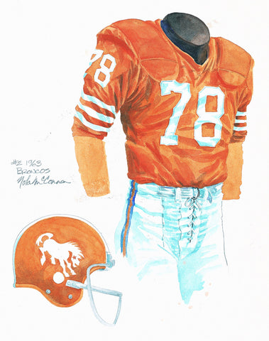 Denver Broncos 1963 - Heritage Sports Art - original watercolor artwork - 1