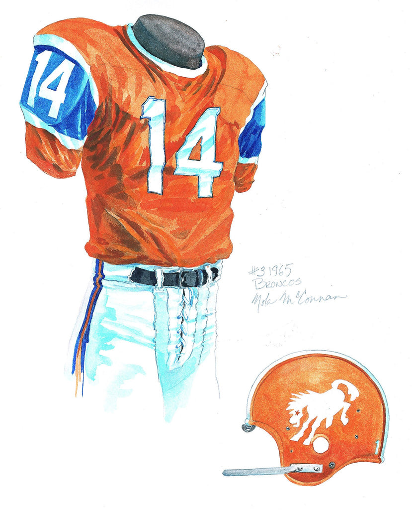 NFL Denver Broncos 1965 uniform original art – Heritage Sports Art