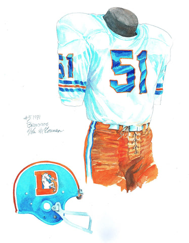 Denver Broncos 1971 - Heritage Sports Art - original watercolor artwork - 1