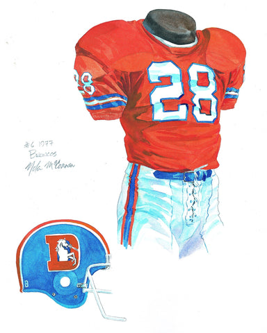 Denver Broncos 1977 - Heritage Sports Art - original watercolor artwork - 1