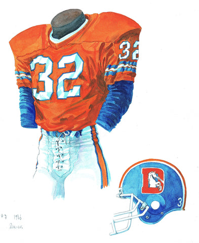 Denver Broncos 1986 - Heritage Sports Art - original watercolor artwork - 1