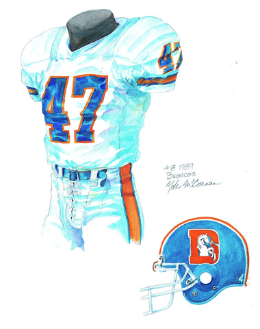 Denver Broncos 1989 - Heritage Sports Art - original watercolor artwork - 1