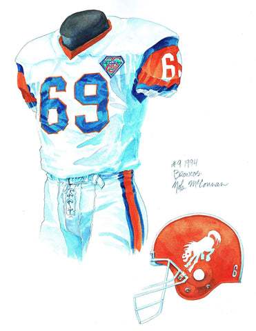Denver Broncos 1994 - Heritage Sports Art - original watercolor artwork - 1