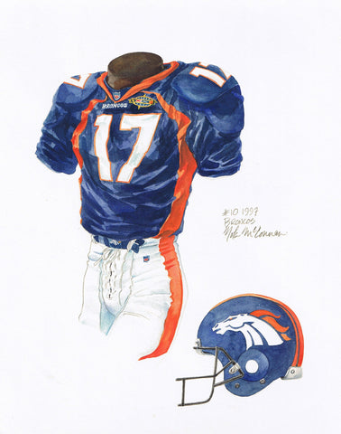 Denver Broncos 1997 - Heritage Sports Art - original watercolor artwork - 1
