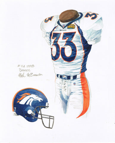 Denver Broncos 1998 - Heritage Sports Art - original watercolor artwork - 1