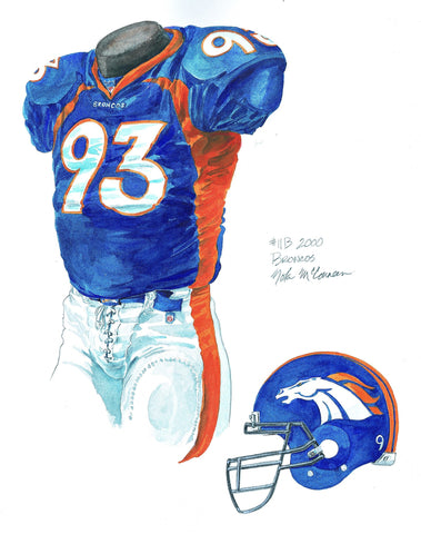 Denver Broncos 2000 - Heritage Sports Art - original watercolor artwork - 1