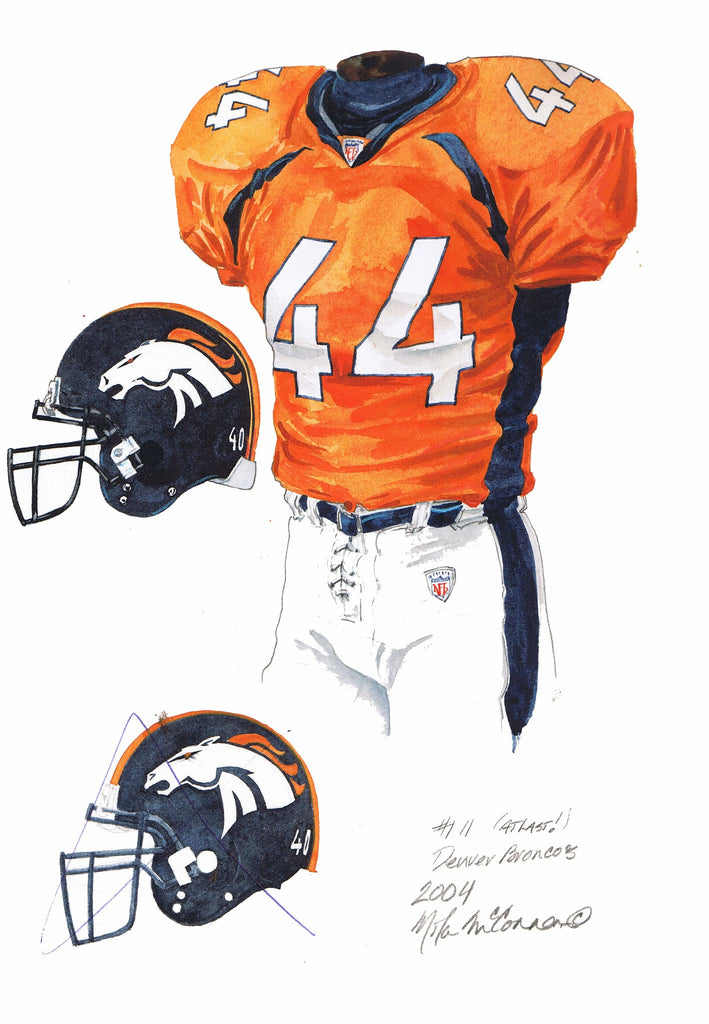 NFL Denver Broncos 2004 uniform original art – Heritage Sports Art