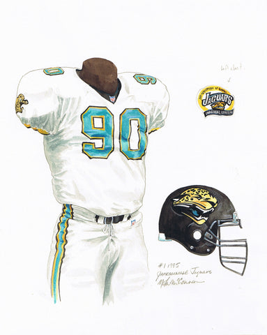 Jacksonville Jaguars 1995 - Heritage Sports Art - original watercolor artwork - 1