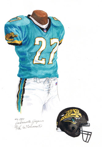 Jacksonville Jaguars 1999 - Heritage Sports Art - original watercolor artwork - 1