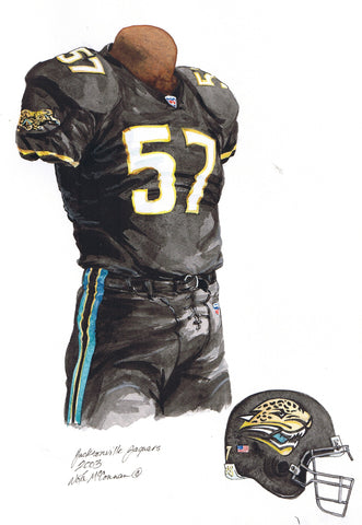 Jacksonville Jaguars 2003 - Heritage Sports Art - original watercolor artwork - 1