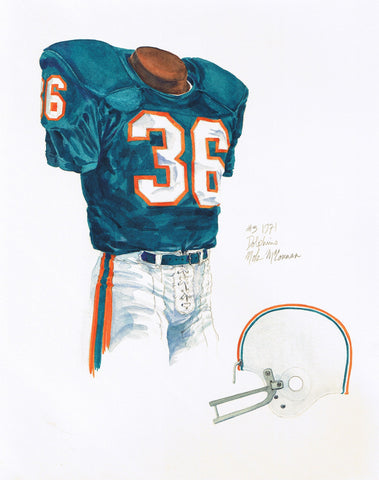 Miami Dolphins 1971 - Heritage Sports Art - original watercolor artwork - 1