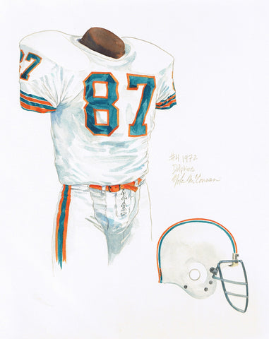 Miami Dolphins 1972 - Heritage Sports Art - original watercolor artwork - 1