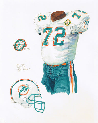 Miami Dolphins 1990 - Heritage Sports Art - original watercolor artwork - 1