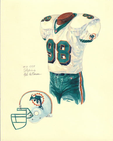 Miami Dolphins 1997 - Heritage Sports Art - original watercolor artwork - 1