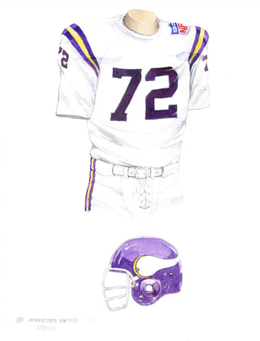 Minnesota Vikings 1969 White - Heritage Sports Art - original watercolor artwork - 1
