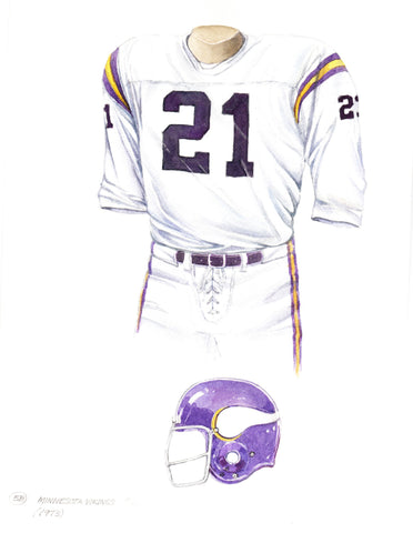 Minnesota Vikings 1973 White - Heritage Sports Art - original watercolor artwork - 1