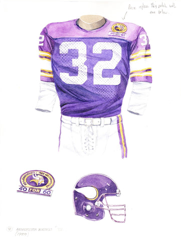 Minnesota Vikings 1989 - Heritage Sports Art - original watercolor artwork - 1