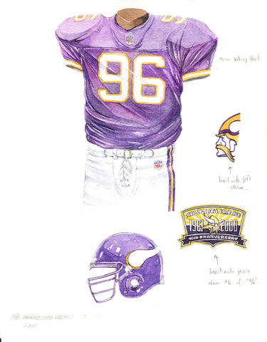 Minnesota Vikings 2000 - Heritage Sports Art - original watercolor artwork - 1