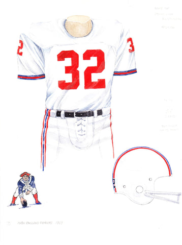 New England Patriots 1969 - Heritage Sports Art - original watercolor artwork - 1