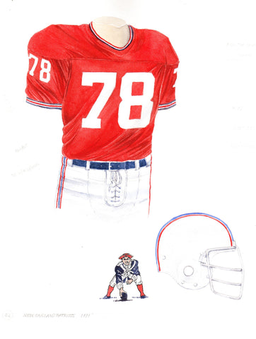 New England Patriots 1971 - Heritage Sports Art - original watercolor artwork - 1