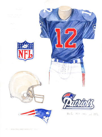 New England Patriots 1993 - Heritage Sports Art - original watercolor artwork - 1