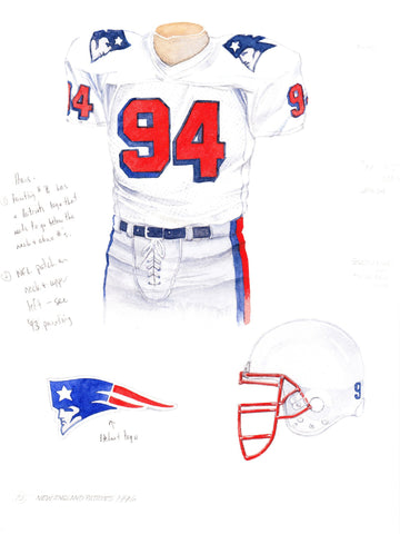 New England Patriots 1996 - Heritage Sports Art - original watercolor artwork - 1