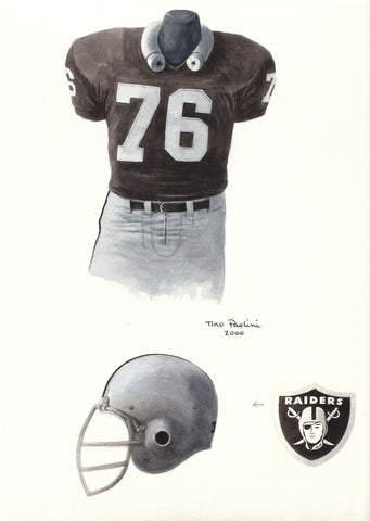 Oakland Raiders 1976 Black - Heritage Sports Art - original watercolor artwork - 1