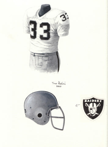 Oakland Raiders 1976 White - Heritage Sports Art - original watercolor artwork - 1