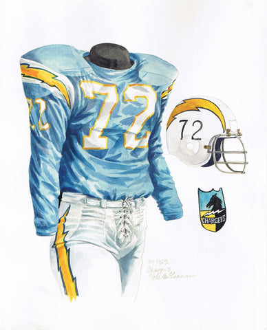 San Diego Chargers 1963 - Heritage Sports Art - original watercolor artwork - 1