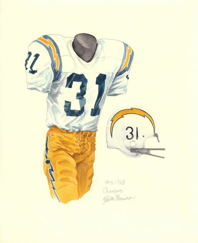 San Diego Chargers 1968 - Heritage Sports Art - original watercolor artwork - 1