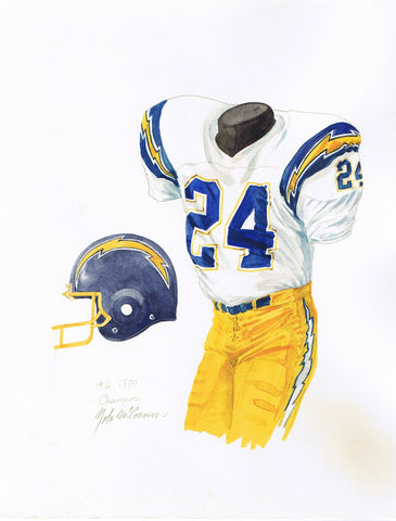 San Diego Chargers 1981 - Heritage Sports Art - original watercolor artwork - 1