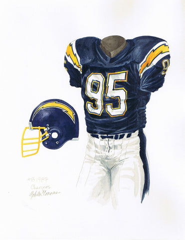 San Diego Chargers 1987 - Heritage Sports Art - original watercolor artwork - 1